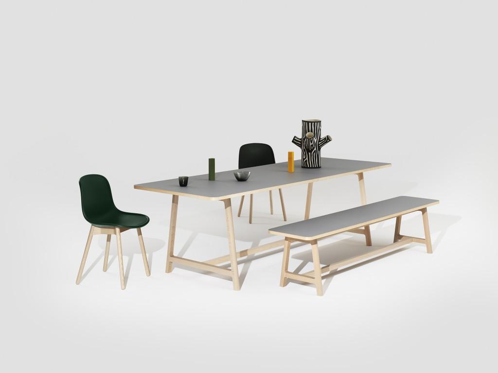 Frame Table, Bench beech matt lacquer lino grey catalogue