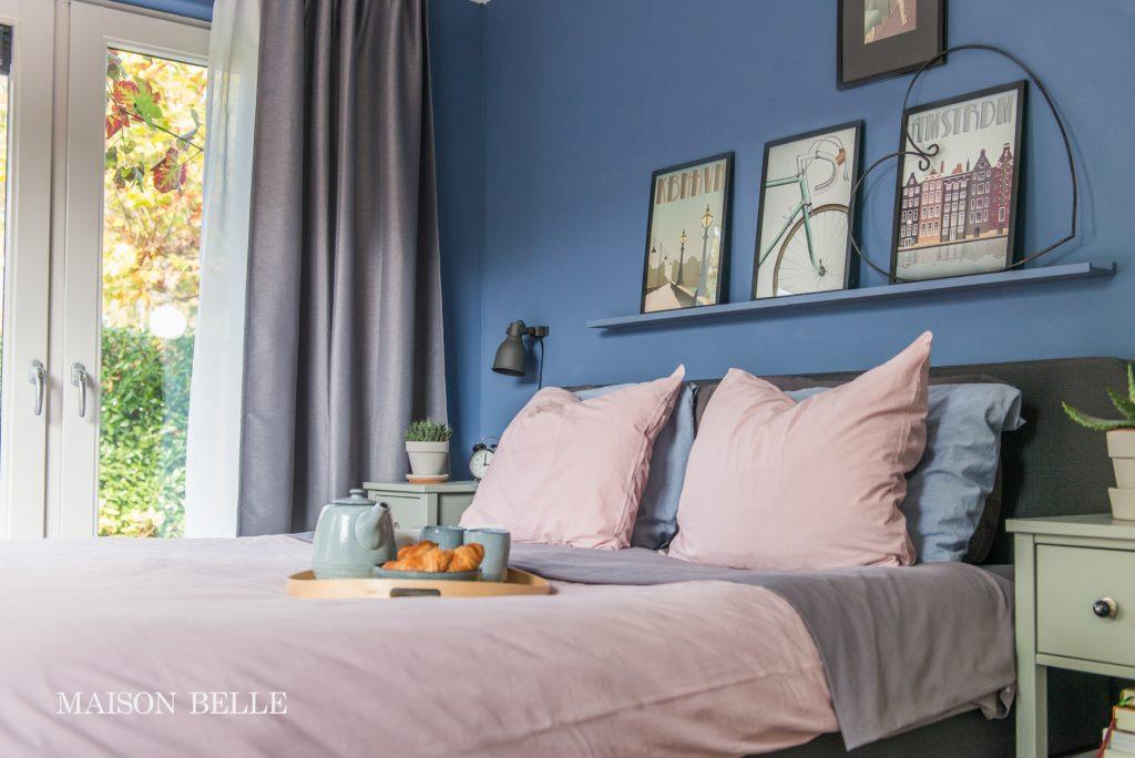 roze blauw interieur
