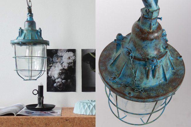 industriele hanglamp blauw