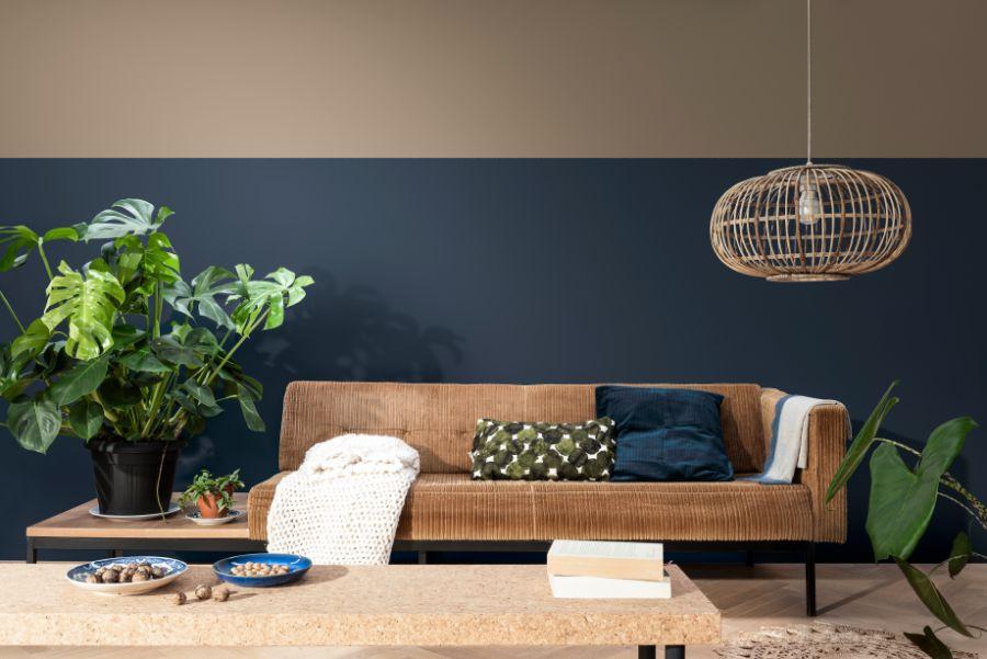 blauw bruin interieur